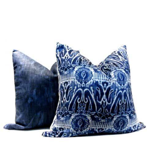 Blue White Ikat pillow