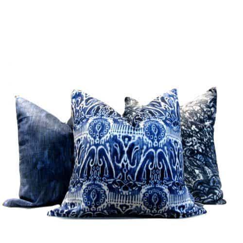 tribal indigo print pillow