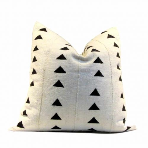 Cream and block Mudcloth Pillow