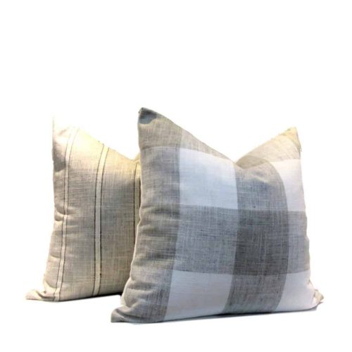 Buffalo Check Pillow Cover White