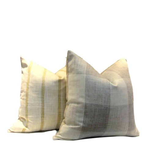 taupe check pillow
