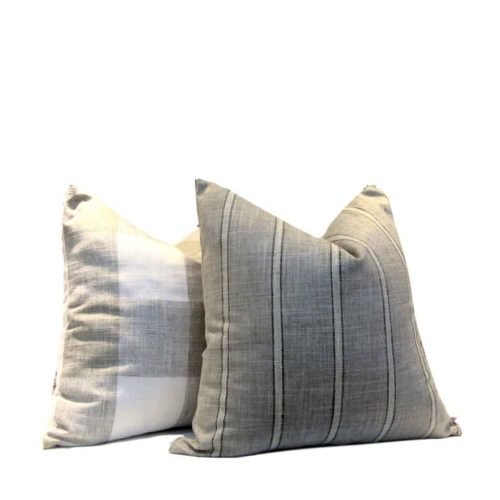 French Farmhouse Pillow Cover Grey Stripe