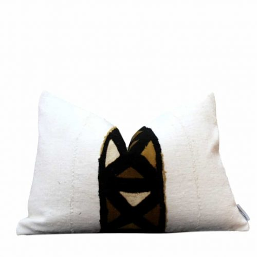 Ariel African White Mud Cloth Pillow