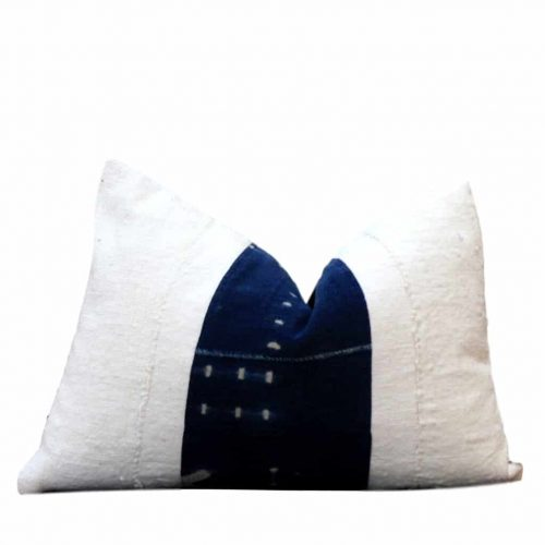 Zuma African White Mud Cloth Pillow