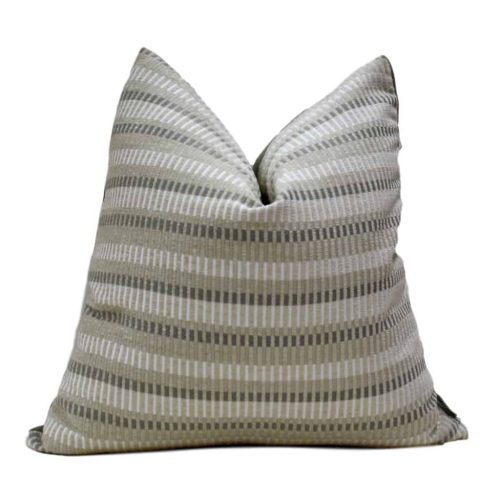 natural white stripe pillow