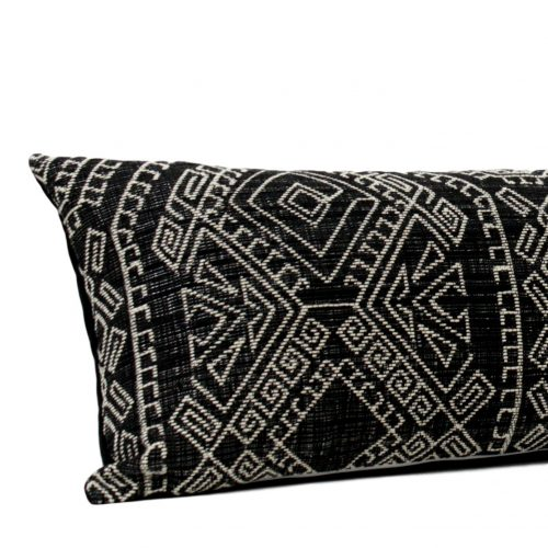 black white bed pillow