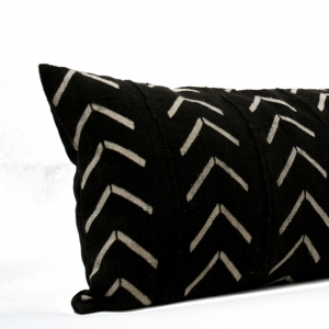 Black Mud Cloth Long Lumbar Pillow