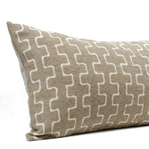 Taupe & Cream Geometric Long Lumber Pillow