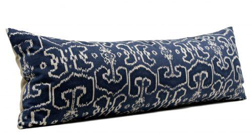 blue ikat long lumbar pillow