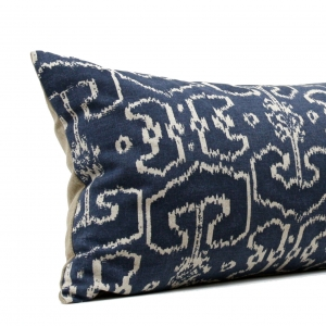 Denim Blue Ikat Extra Long Lumbar Pillow
