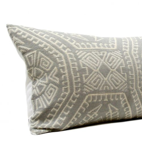 grey white lumbar pillow