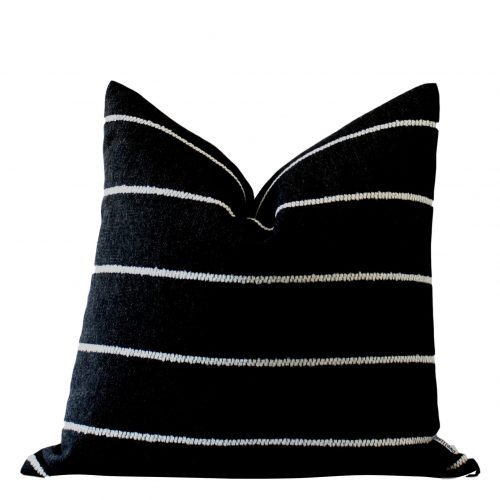 black white stripe pillow