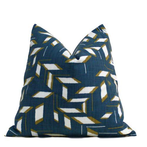 blue mustard pillow