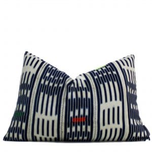 African Blue & White Baule Pillow Cover