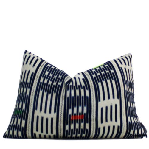 african blue white pillow