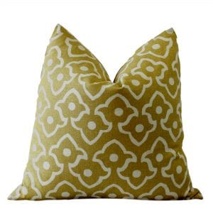Harrow Mustard Linen Print Pillow Cover
