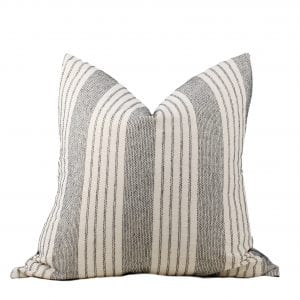 Jarvis Charcoal and Cream Stripe Pillow Cover