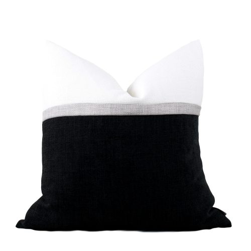 Black colour block Pillow Cover  .