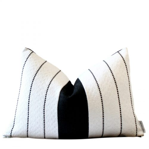 white black colour block pillow