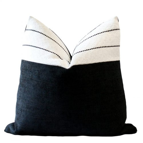 black white colour block pillow
