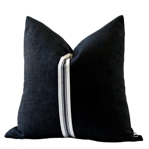 Black with Taupe Stripe Colour Block Pillow Cover