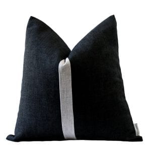 bBlack with Grey Stripe Colour Block Pillow Cover