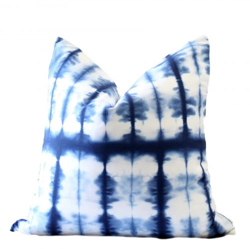 Lined Blue and White Shibori Pillow Cover