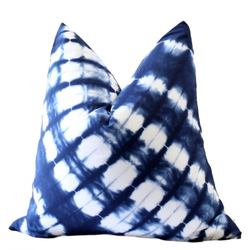 Lined Indigo and White Shibori Pillow Cover
