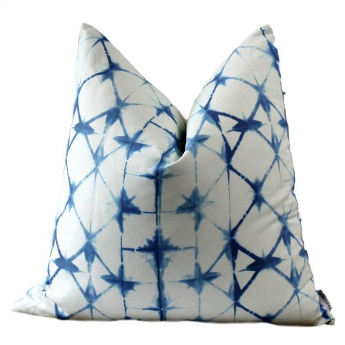 indigo white pillow