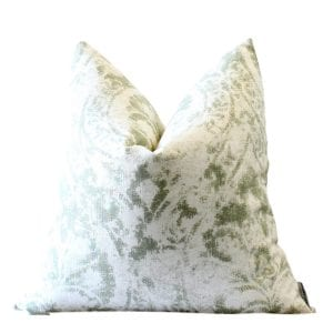 Elgin Faded Green Cotton Damask Pillow Cover