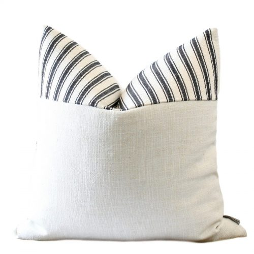offwhite black stripe pillow cover