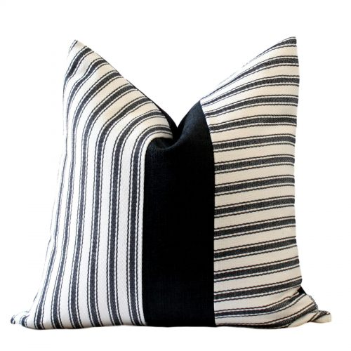 Crisp,Contemporary, Black, Cream Stripe, Colour Block Pillow Cover for tailored uncluttered, minimalistic interiors
