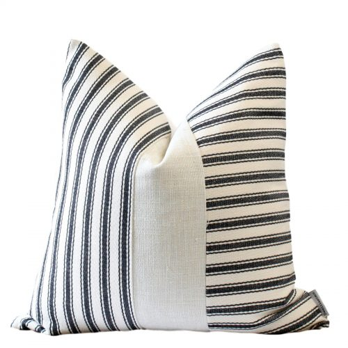 Crisp, Contemporary, Cream, Black  Stripe Colour Block Pillow Cover