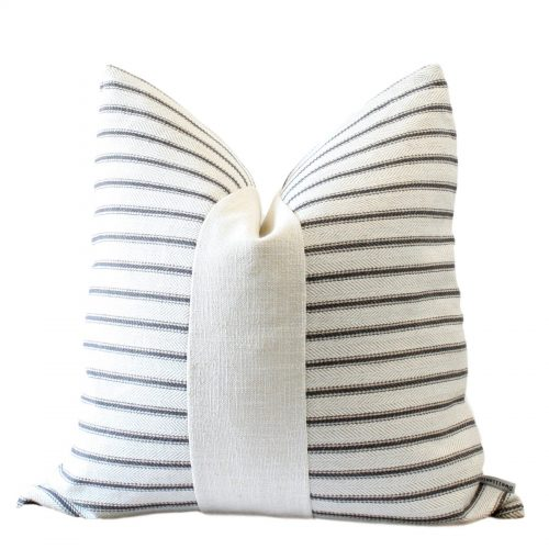 cream charcoal stripe pillow