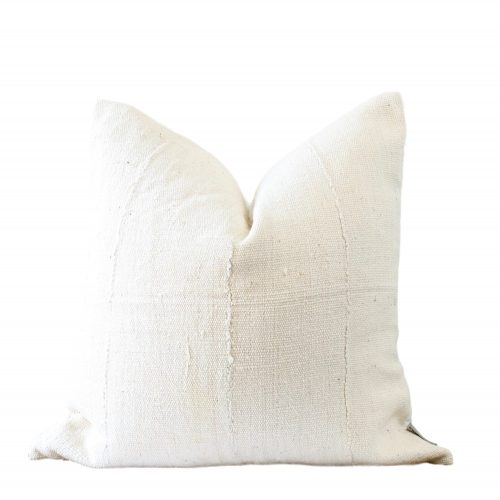 solid white mud cloth pillow