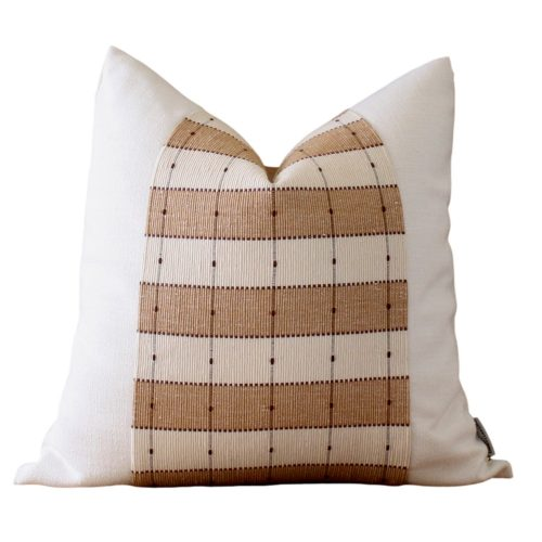 white oatmeal stripe pillow