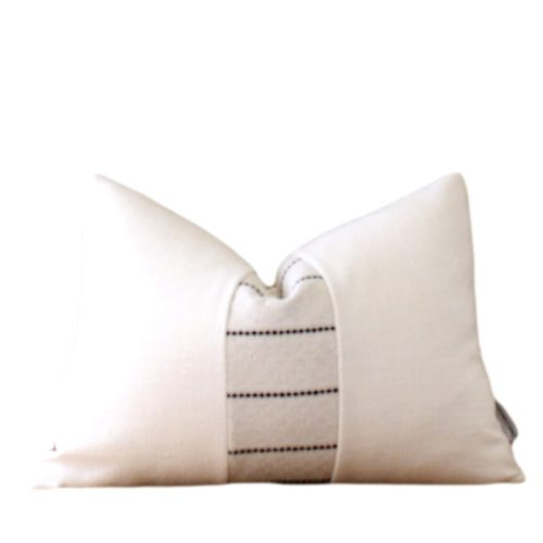 white black stripe pillow